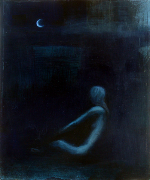moonbather, mixed media on found drawer, 25x30