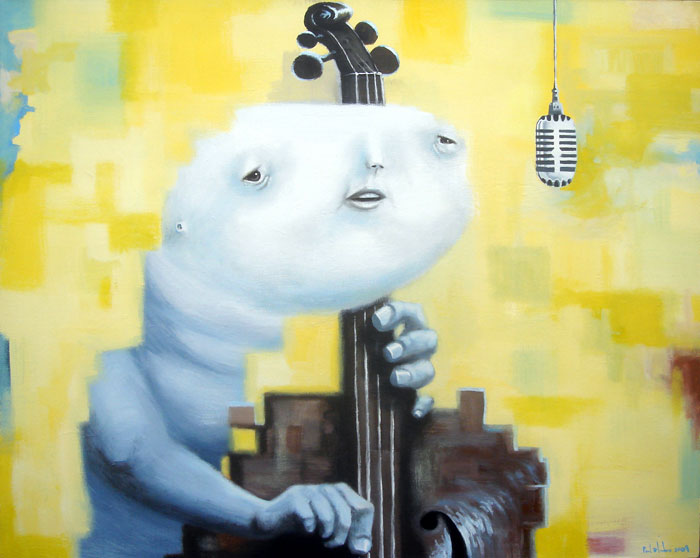 bassist, acrylic on canvas, 40x48