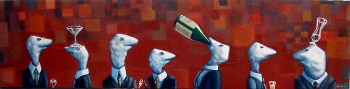 free corporate libations(red), acrylic on wood panel, 15x60