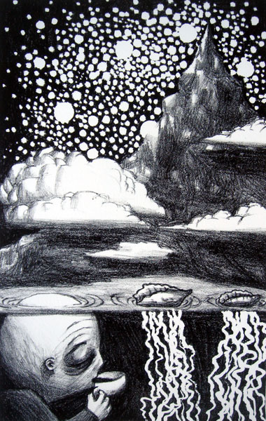 hike back into the stars or get old and do nothing, lithograph, 8x11
