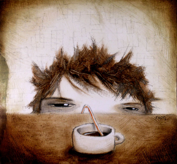 my morning cup, mixed media on paper, 8x10