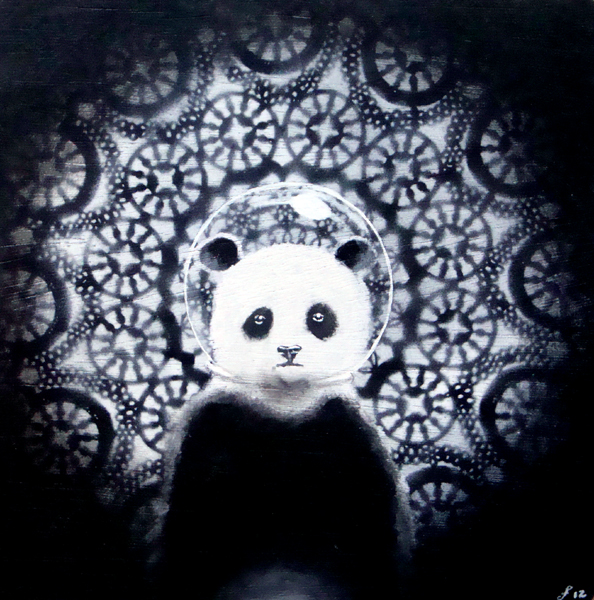 panda in space, acrylic and spraypaint on wood panel, 12x12