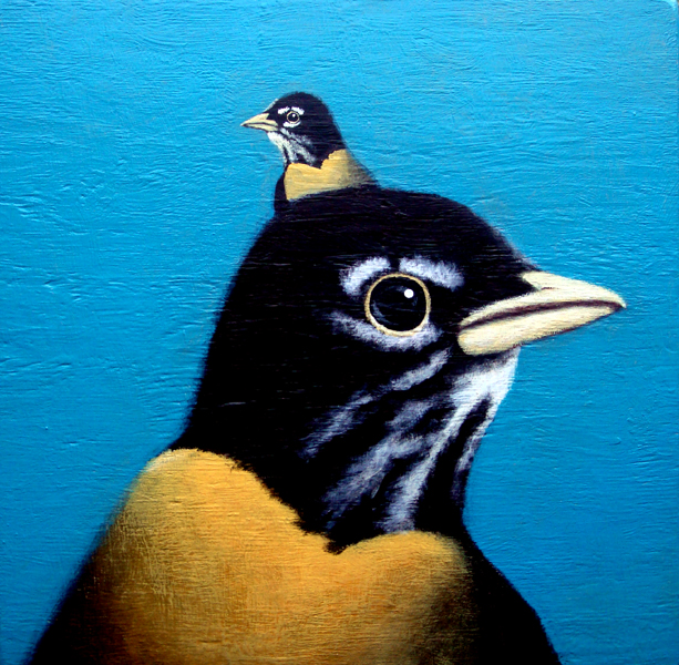 robin(s), acrylic on wood, 24x24