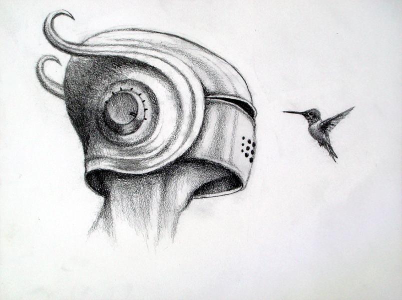 full blast, graphite on paper, 9x12