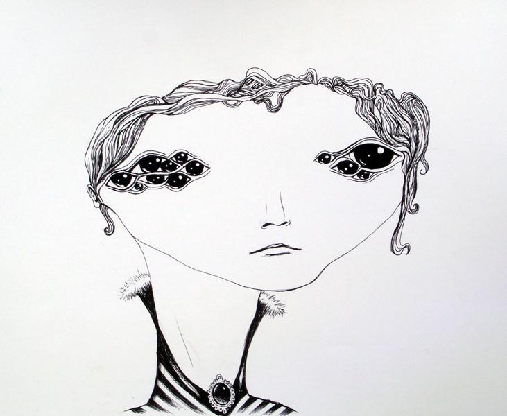 miss morningstar, ink on paper, 11x14