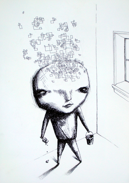 sparks, ink on paper, 11x17