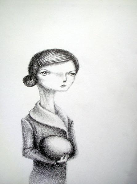 study for 'nest egg', graphite on paper, 9x12