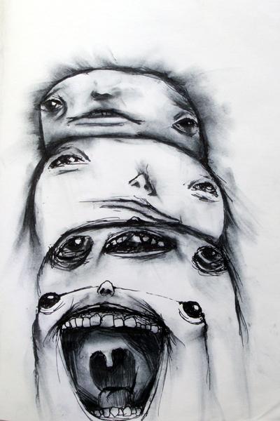 huh hmm ahh ha, ink on paper, 6x10