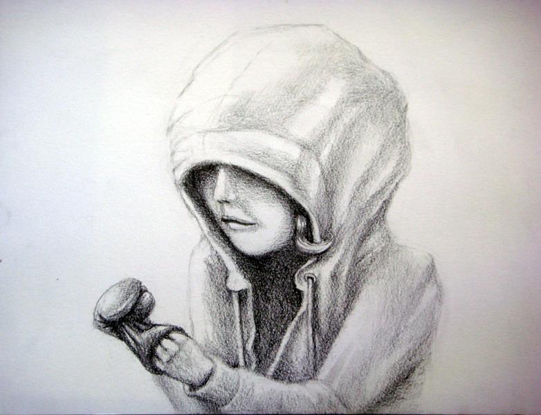 inhermitten, graphite on paper, 9x12