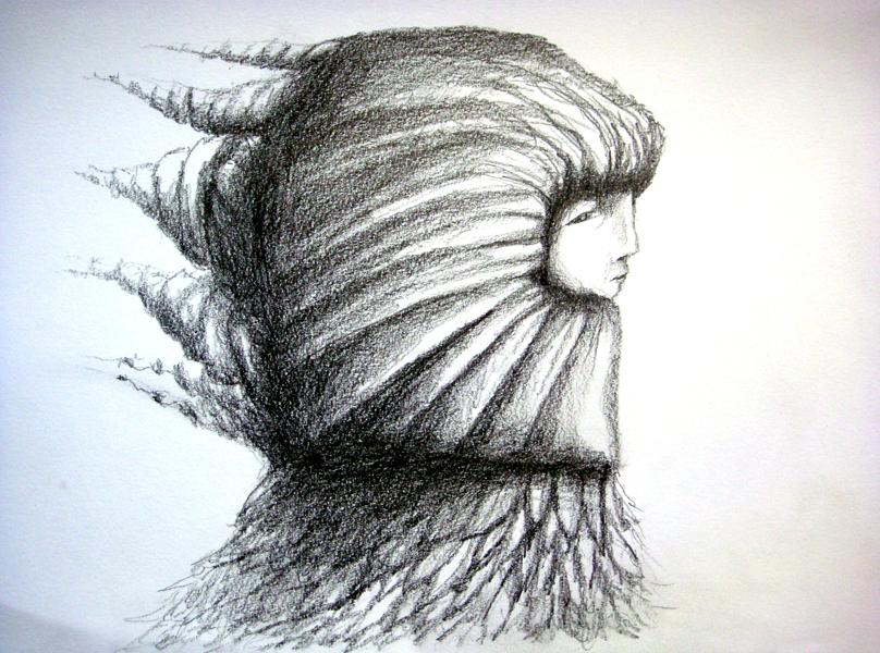 trudge, graphite on paper, 9x12