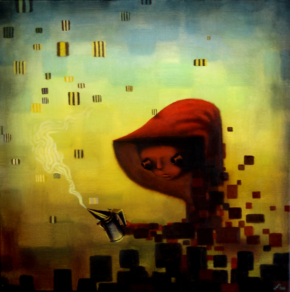 the beekeeper, acrylic on canvas, 24x24.jpg