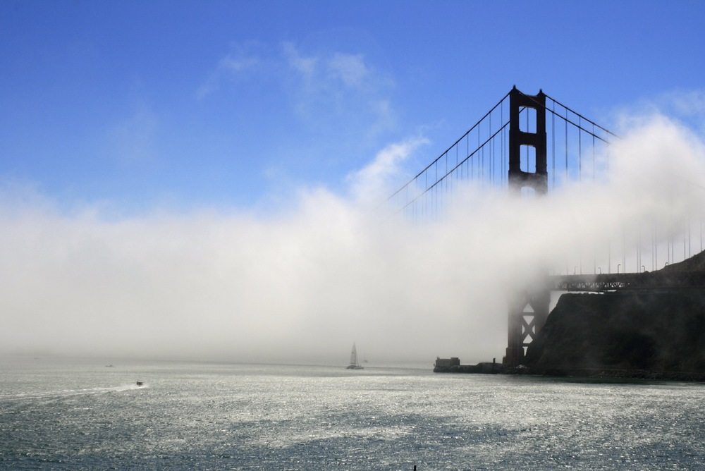 Golden Gate bridge in the fog.  San Francisco, CA