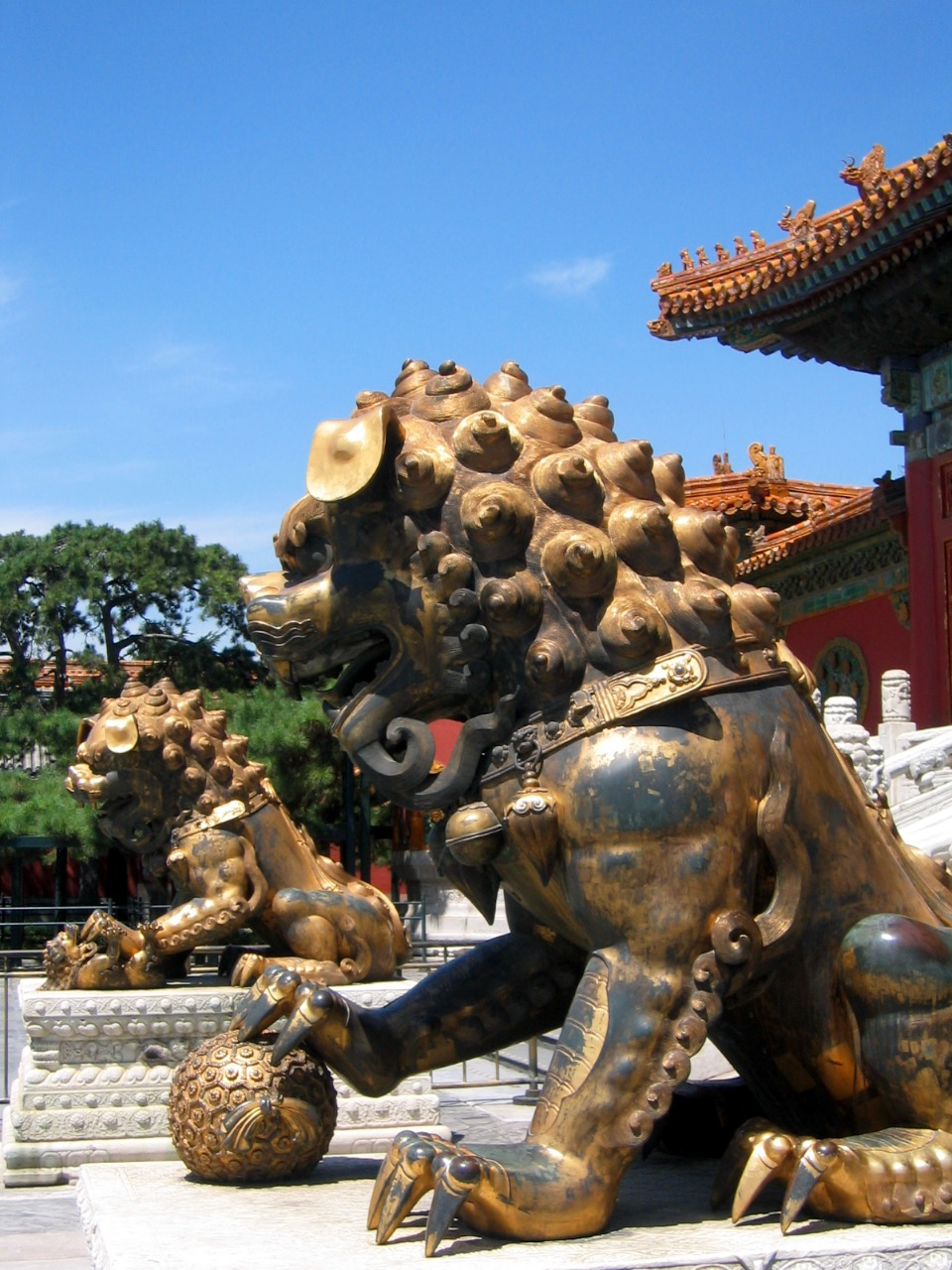 Imperial guardian lions.   Forbidden City, Beijing, China