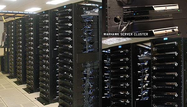 A server rack made out of PS3's for the game Warhawk in 2007.