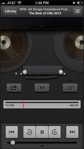 Old reel to reel Podcast app UI