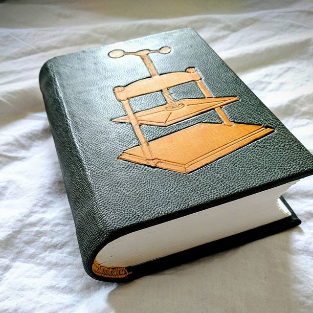 Cover design for Douglas Cockerell Bookbinding and The Care of Books. First time leather onlay with tooled edges. Ocher calf on blue-gray goat. #bookmaking #leather #onlay #leathertooling