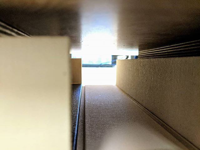 There is a light at the end of the tunnel. A #clamshellbox for very precious cargo indeed. #bookbinding #paperboxmaking #theharringtonbindery