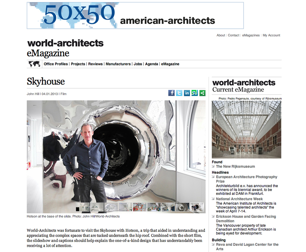 After a tour of SkyHouse with World-Architects.com founder Charles Ganz, SkyHouse was featured in the eMagazine of World-Architects.......