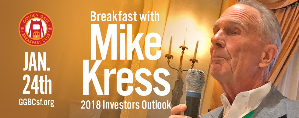 1/24/18 - Michael Kress  is the Senior Managing Partner and Co-Founder of Crosspoint. With an extensive 40+ years of professional investment experience, Michael has developed a high regard in the San Francisco investment community and has largely contributed in making Crosspoint one of the preeminent authorities on tactical investing. He has spent the last 20+ years of his career advising individuals and institutions using Crosspoint's core investment methodology. Michael is a member of the firm's investment committee and enjoys taking the time to develop personal connections with the firm's existing clients.