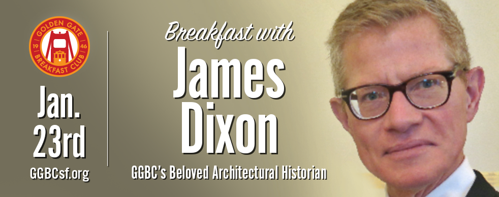 James Dixon , a San Francisco architect whose mentor was the late Aaron Green. Aaron Green was the last living professional link to Frank Lloyd Wright and he completed the Marin County Civic Center after Wright's death. James is an expert and lecturer on Victorian and Edwardian architectural styles in the Bay Area. A San Francisco architect and lecturer on architectural styles from the Victorian to the present day, James can consult on site with you to identify a property's architectural style, give a brief history of the style, and discuss what is interesting or significant about the building itself. James will also suggest stylistically and architecturally appropriate modifications to make the building more closely fit the client's needs.