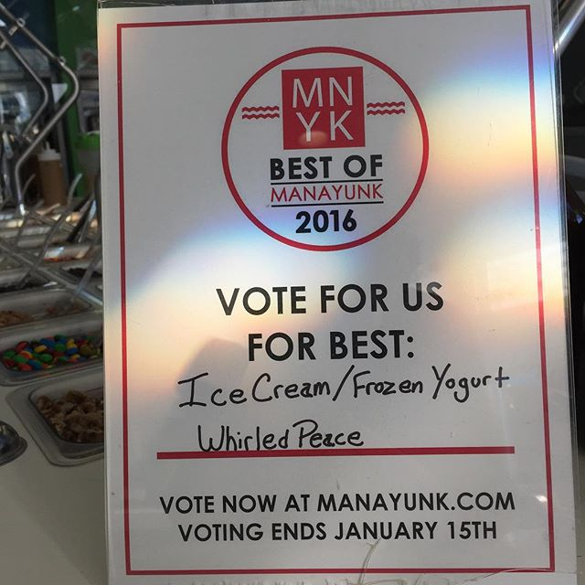 Hey Fans!! Let's bring this one home! Vote for us for #bestofmanayunk at manayunk.com for best ice cream/ frozen yogurt. Thank You!! @manayunkdotcom