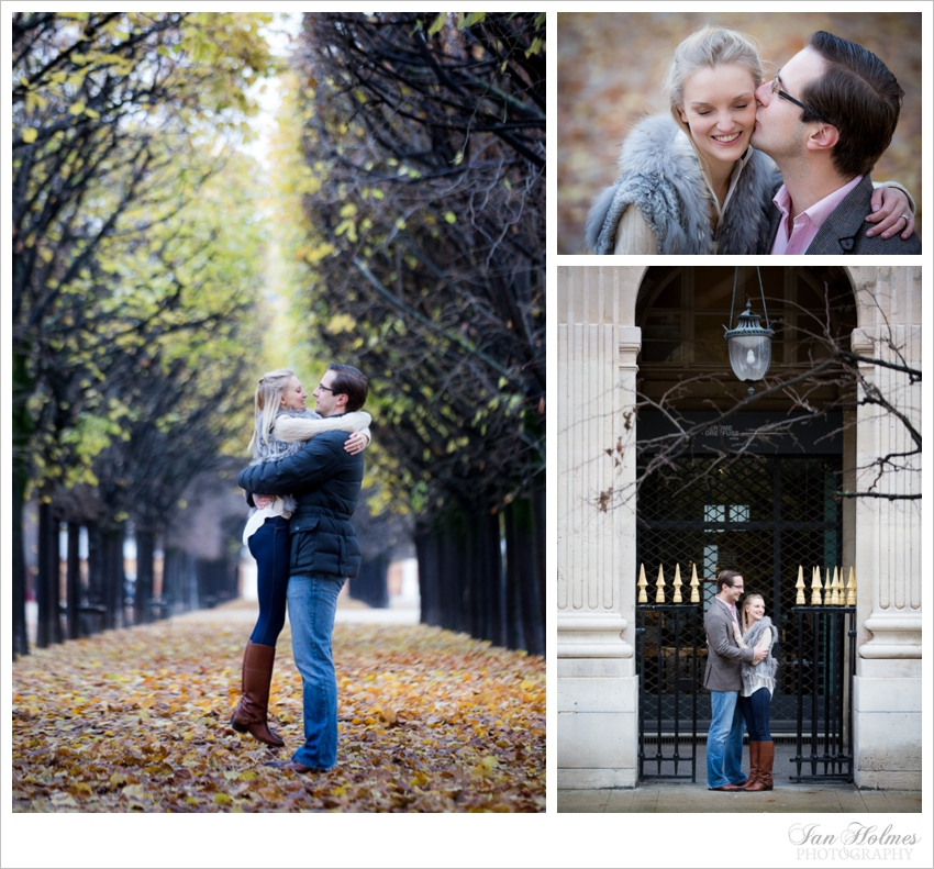 romantic couple in autumn Paris