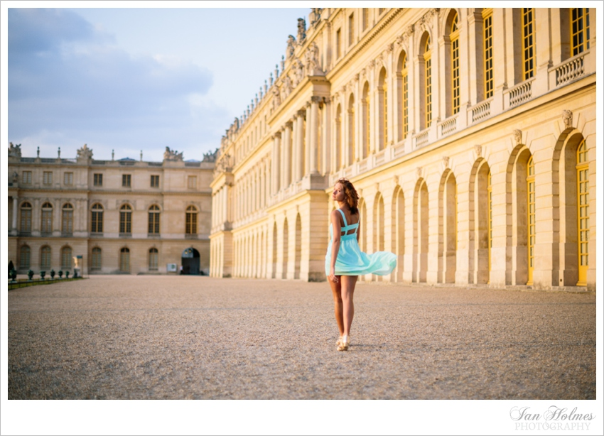 beautiful girl in front of versailles