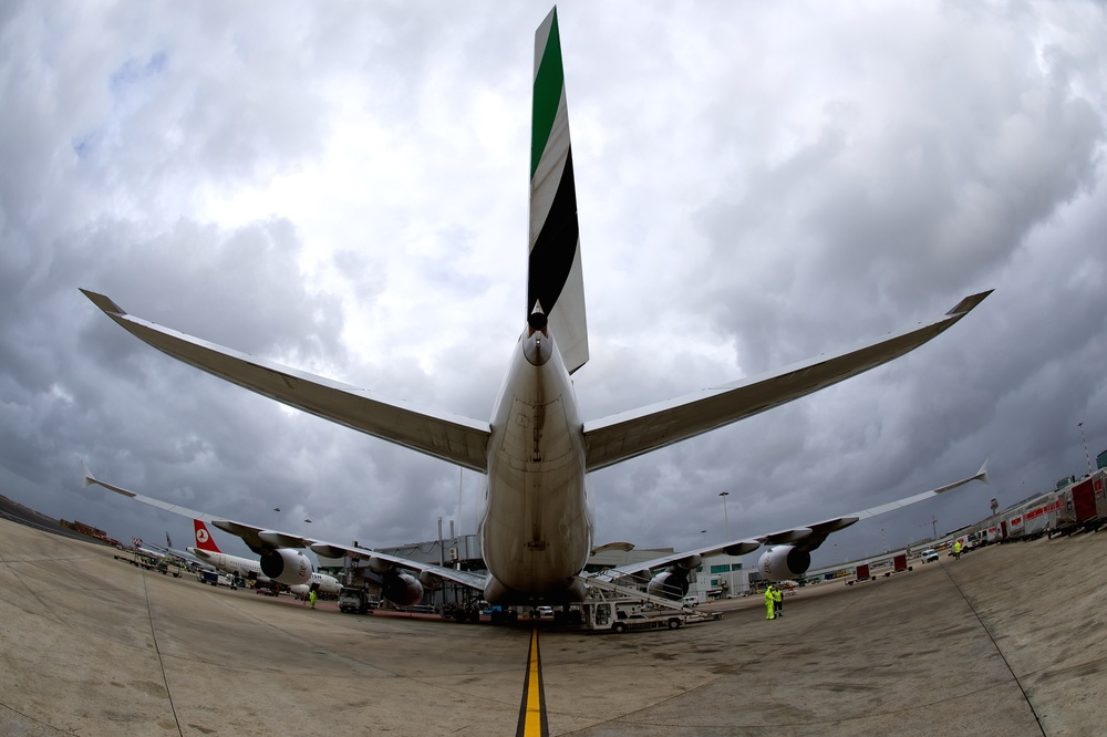 Airbus A380 at stand 703 in Rome Fuimicino.