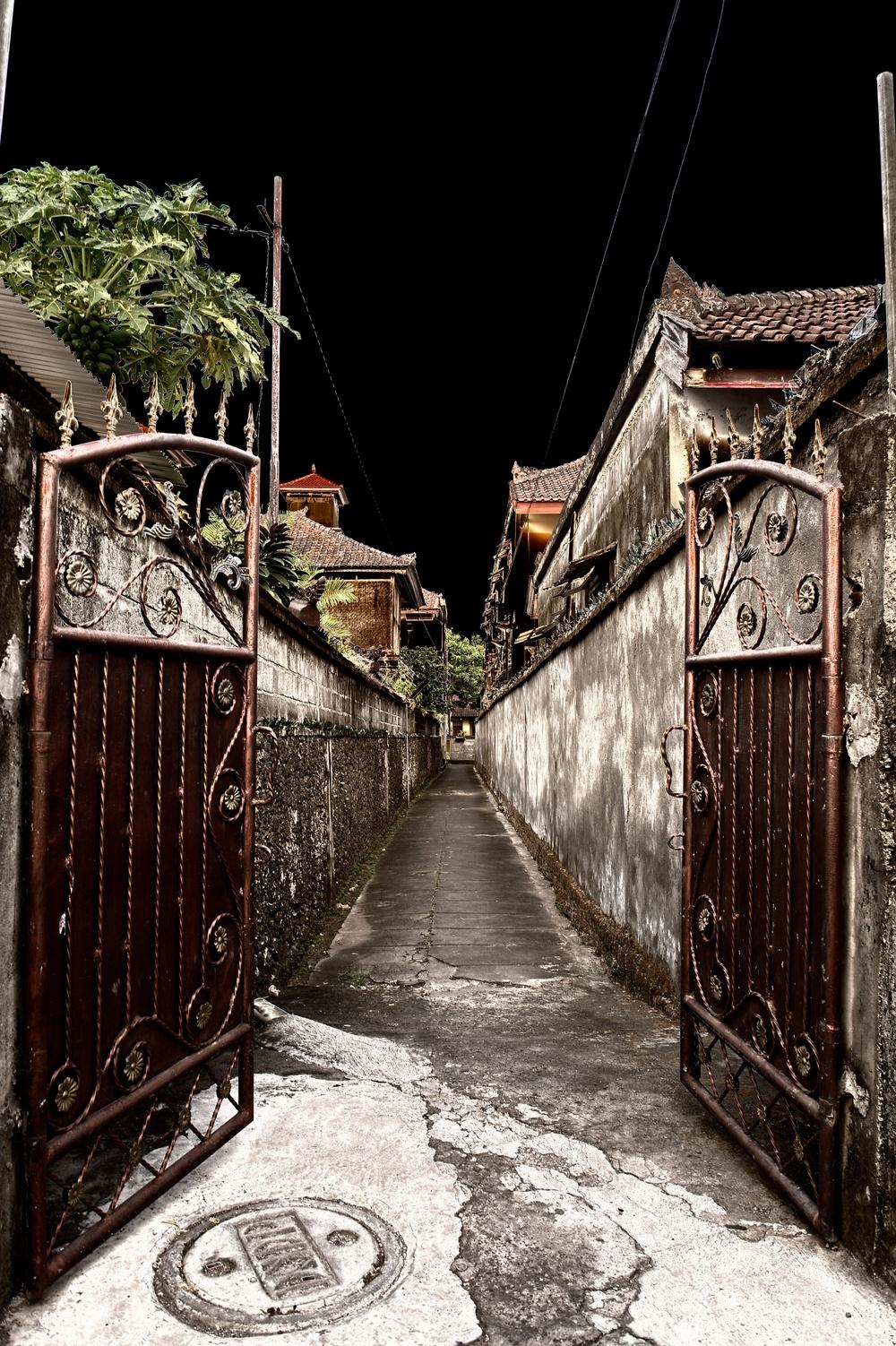 Small alley in Kuta around sunset