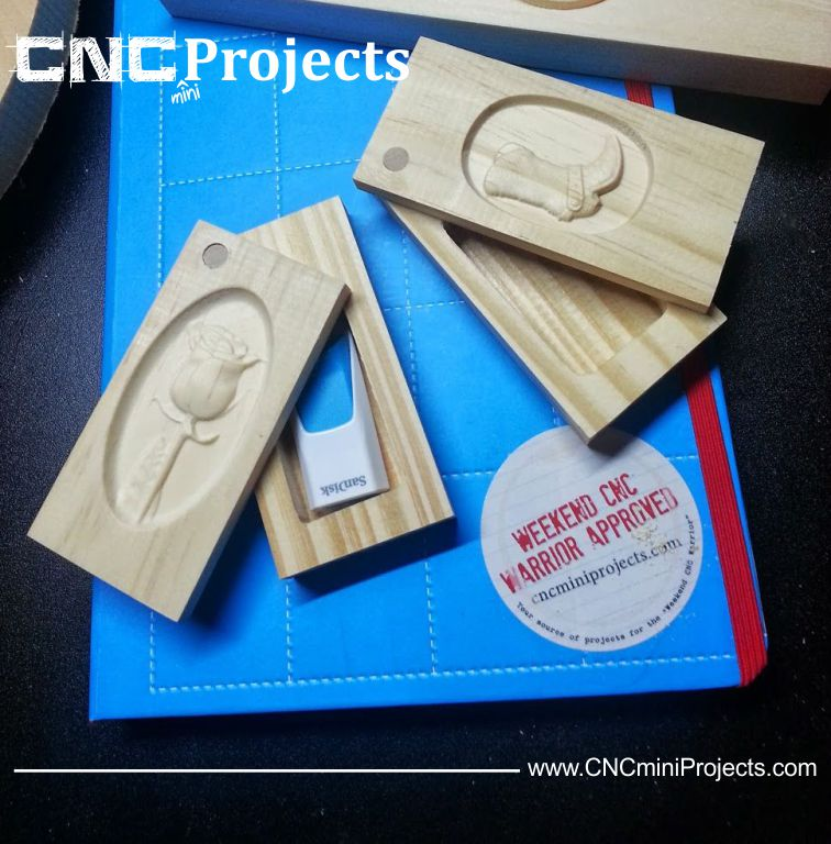 The rose from this mini-project was used on the top of this USB drive box as a CNCminiProjects giveaway!