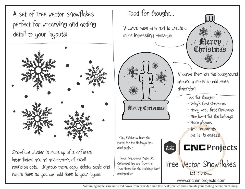 Special Project Sheet to help and inspire you on how to use the free to anyone snowflake vectors!  Click the image above to get a closer look!