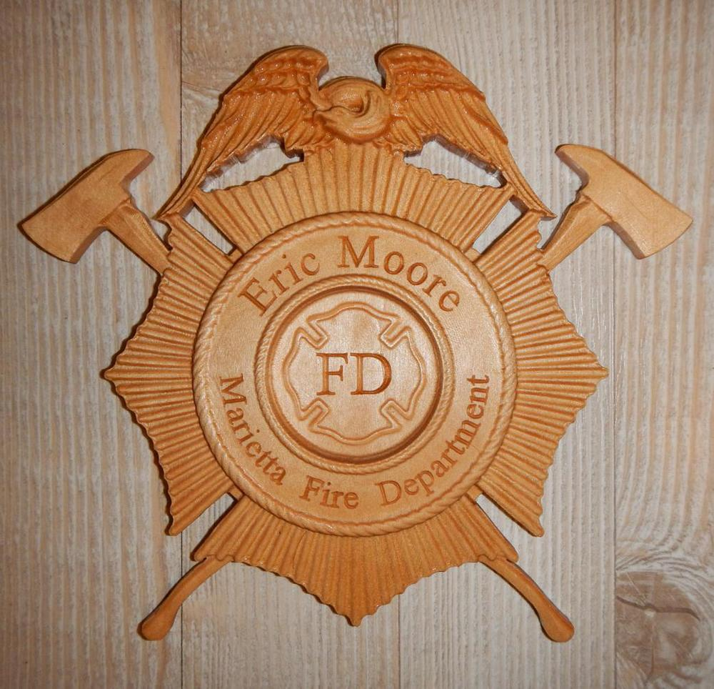 Thanks Mr. S for this great picture of a finished Firefighter plaque!