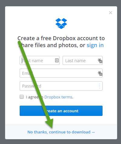 Dropbox download files without account