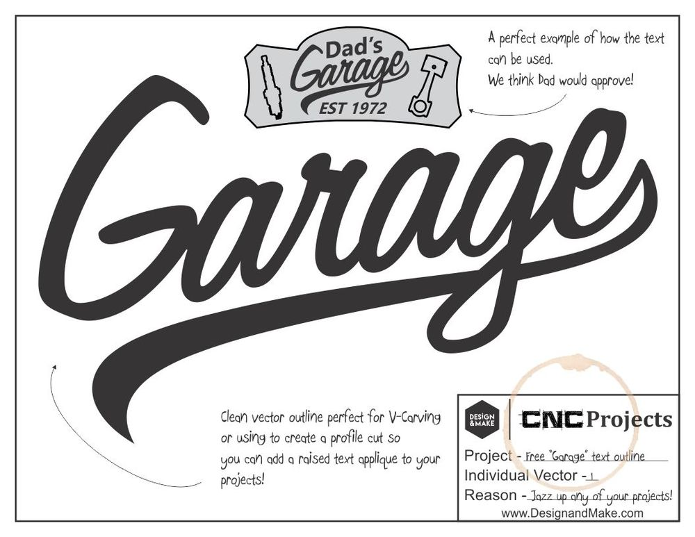 If you haven't checked out the Dad's Garage No.1 project you should! It has the link for the free stylized Garage text in the image above! It will add the perfect touch to your layout and it has been created especially for v-carving!