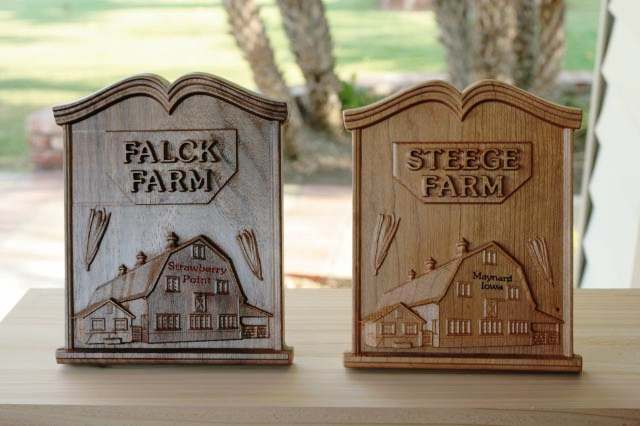 Plaques made in walnut and cherry by Dan Steege