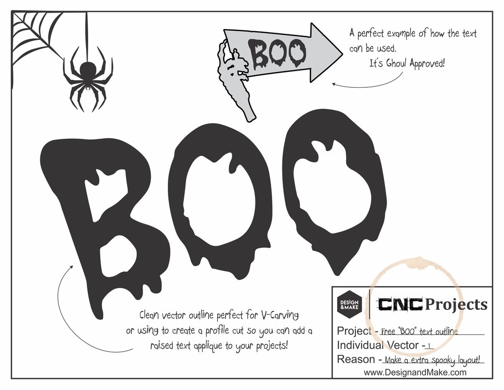 Free BOO V-Carvable vector outlines!