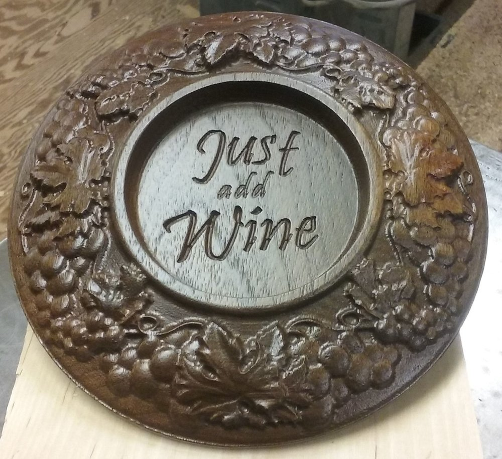 Thanks to Don Harding for making this finished wine coaster out of black oak!