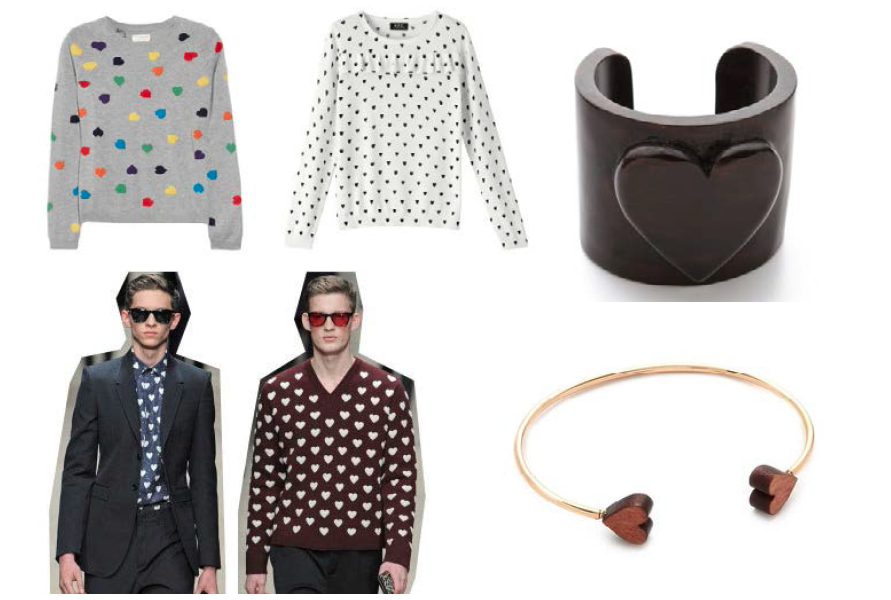 Hearts that aren't for Valentines day (because those kinds of hearts would be stupid). Sweater CHINTI AND PARKER from Net-a-porter Top A.P.C. from apc.fr Wood cuff Tory Burch from Shopbop 2 heart cuff Jules Smith from Shopbop Men Burberry Fall 2013