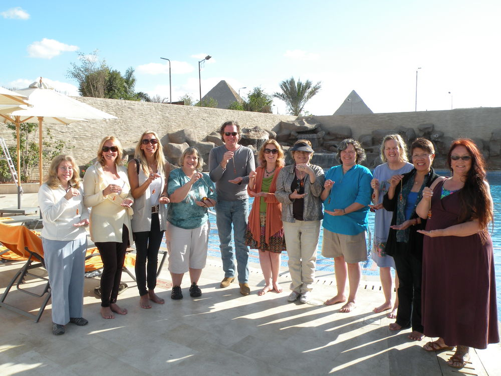 Meditators using Buddha Maitreya the Christ's Etheric Weavers at the Great Pyramid in Egypt