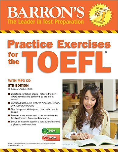 barron's practice exercises for the toefl 8th Edition Book,  mp3 Audio CDs Pamela J. Sharpe, Ph.D. - All books by this author