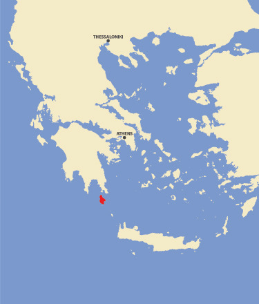 The island Kithira is in red.