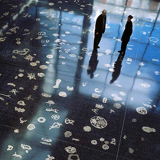 Life Forms , 2005. Project for the Life Sciences Building at Rutgers University, Piscataway NJ. Wide view of atrium floor. Bronze embedded in terrazzo.