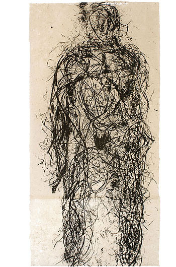 Adam from Roots , 2007. Relief print from organic material. 48 x 96 in.