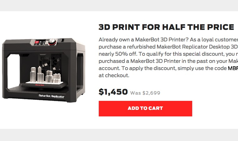 Get the latest versions of their products online, including the MakerBot Desktop MakerBotMakerBot 3D printing software solution for preparing, managing, and sharing your 3D print files; and check out the special offers page for great deals.