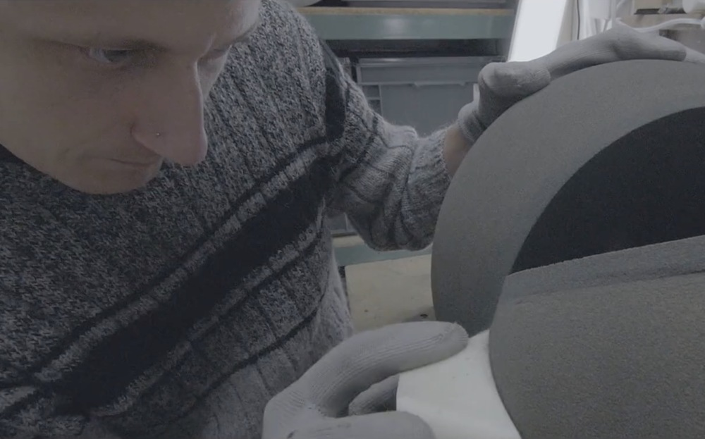 Dario Santacroce sanding his Spherical Creations with a custom 3D printed tool