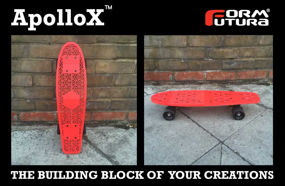 A skateboard made with Formfutura's new ApolloX 3D printer filament