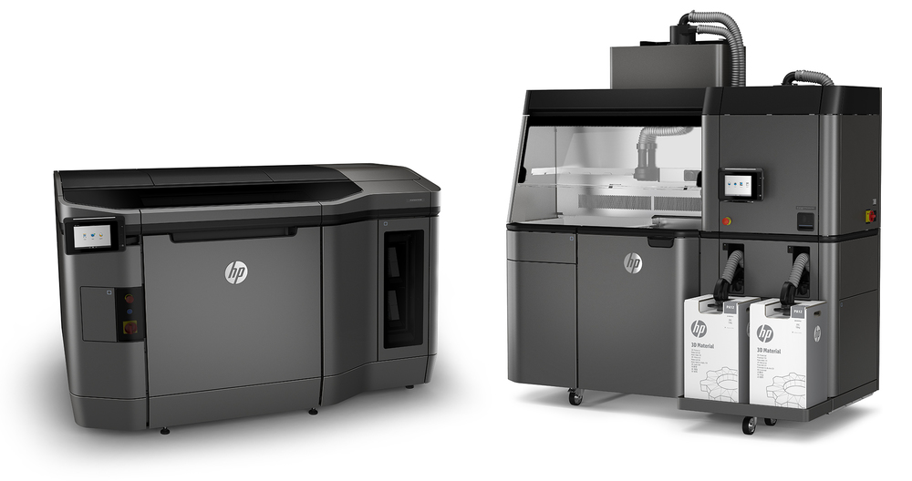 HP's new Jet Fusion 3D printers: the printer itself and the associated processing station