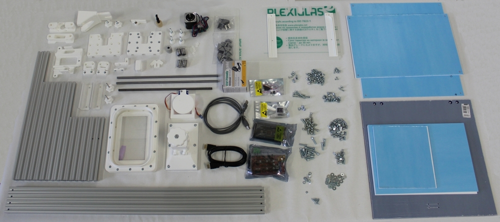 A view of the parts included in the INCUBE3D Start 3D printer kit