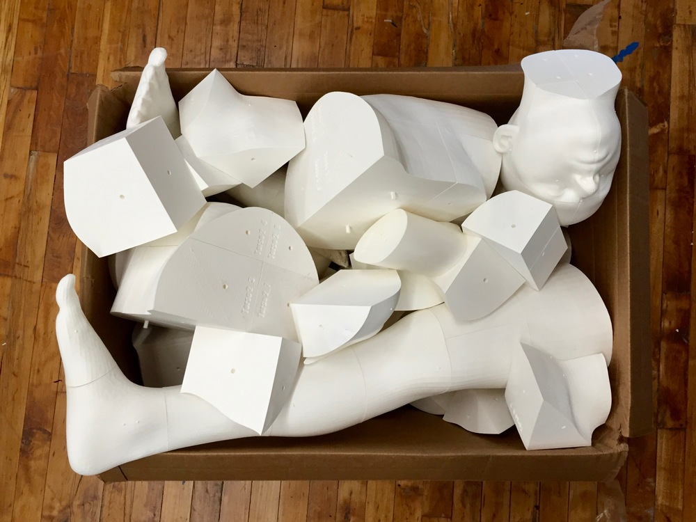 A collection of unassembled 3D printed body components