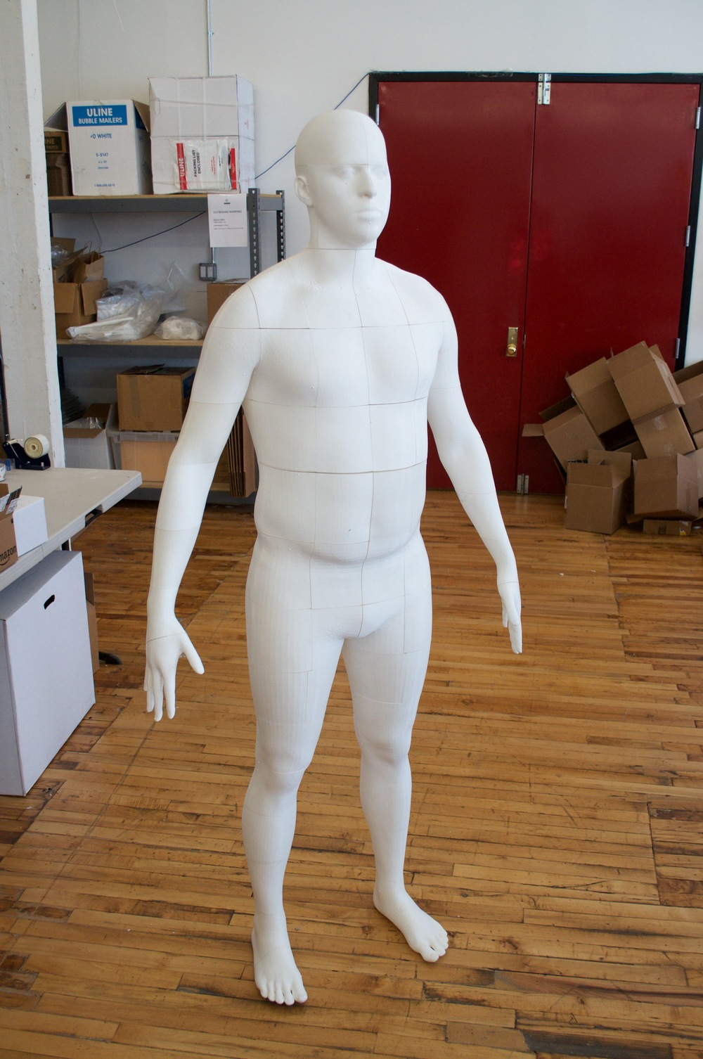 A fully assembled, life-size 3D print of a person